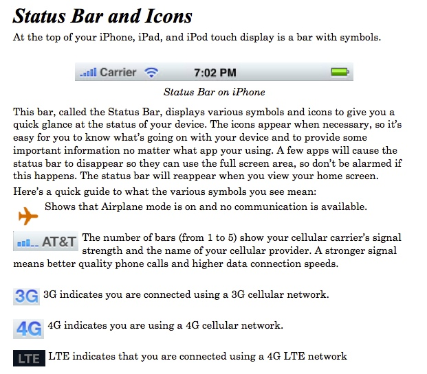 Printable Pdf Guide To Iphone And Ipad Status Bar Icons