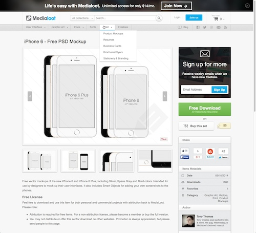 Free IPhone 6 Wireframe Templates