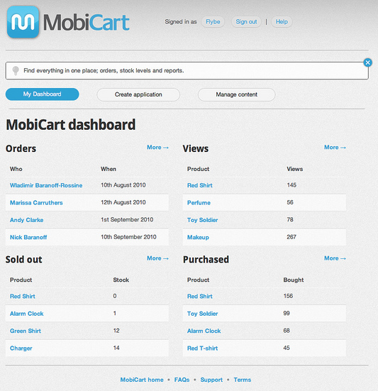 MobiCart Dashboard Screenshot
