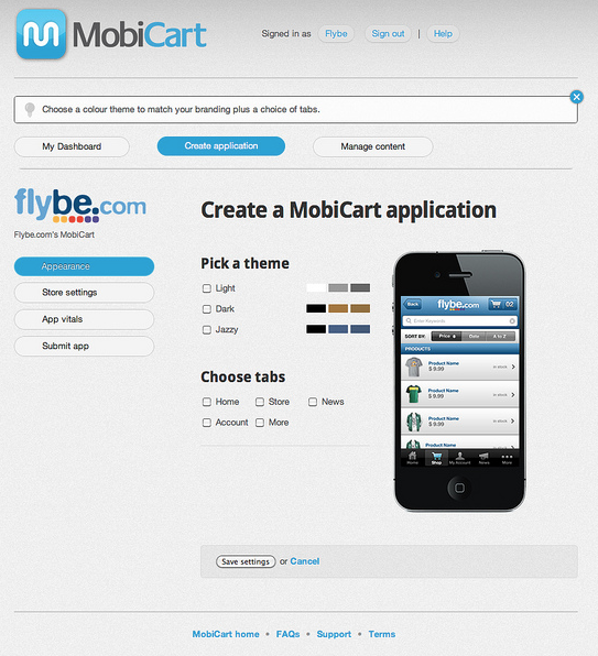 MobiCart Create App Screenshot