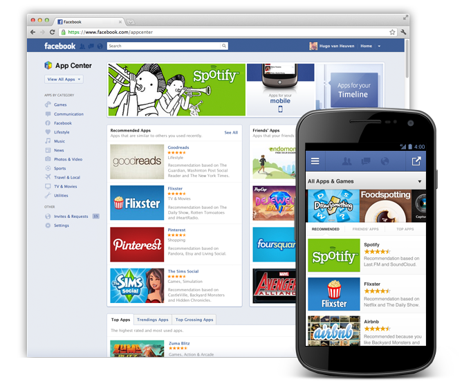 Facebook App Center Home Page