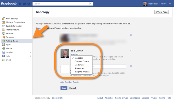 Facebook Page Admin Roles Screen