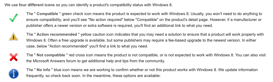 Windows 8 Compatibility Status Icons