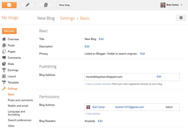 Image result for blogger setting